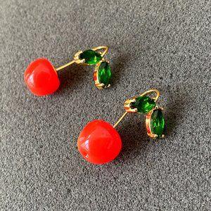 Kate Spade Green Crystal Inlaid Cherry Earrings